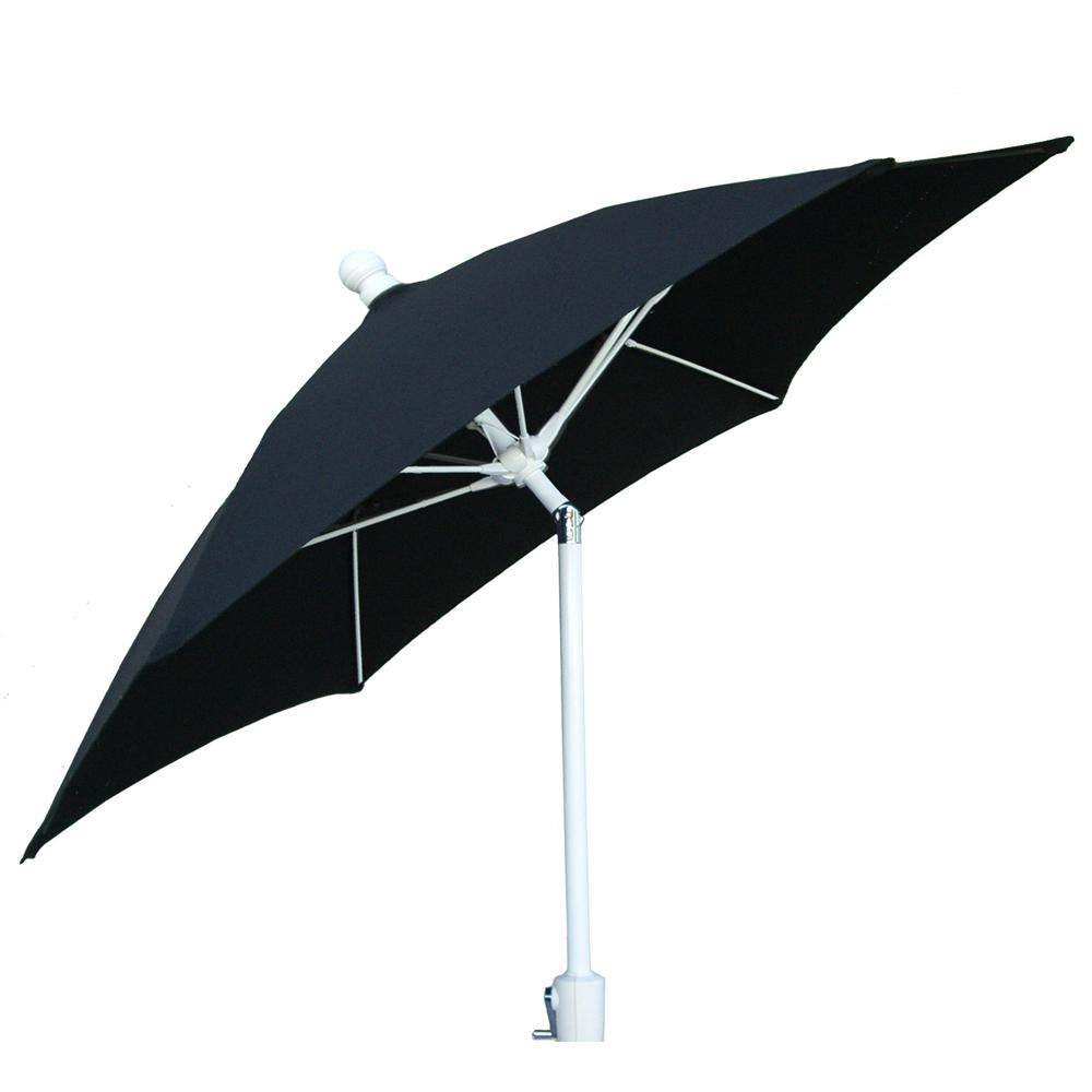Genial Patio Umbrella With 2 Piece White Pole Tilted And Black Canopy