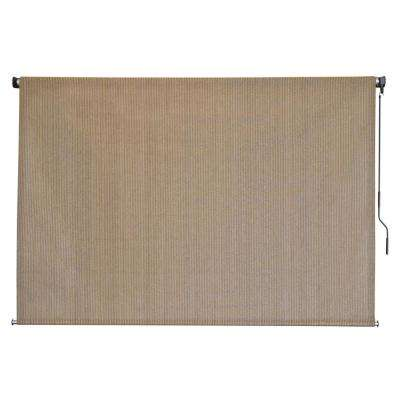 Classic Seaside HDPE Fabric Cordless Pole Exterior Roller Shade - 84 in. W x 72 in. L