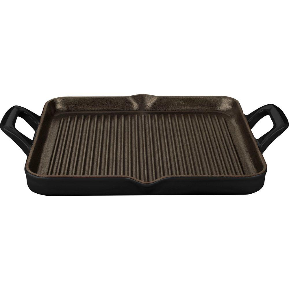 1 Qt. Cast Iron Rectangular Grill Pan with Black Enamel