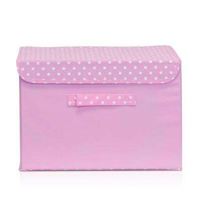 15 in. x 10.6 in. Non-Woven Fabric Pink Storage Bin with Lid