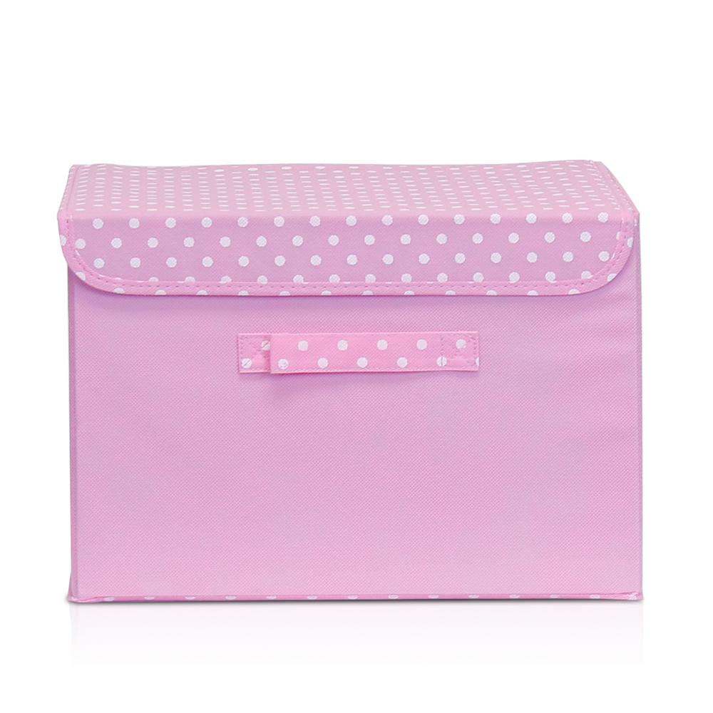 llytech inc non woven fabric pink storage bin with lid nw13203pk the home depot. Black Bedroom Furniture Sets. Home Design Ideas