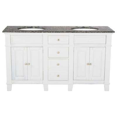 60 in. W x 23 in. D Solid Hardwood Double Vanity in Swiss White with Solid Granite Top in Leopard