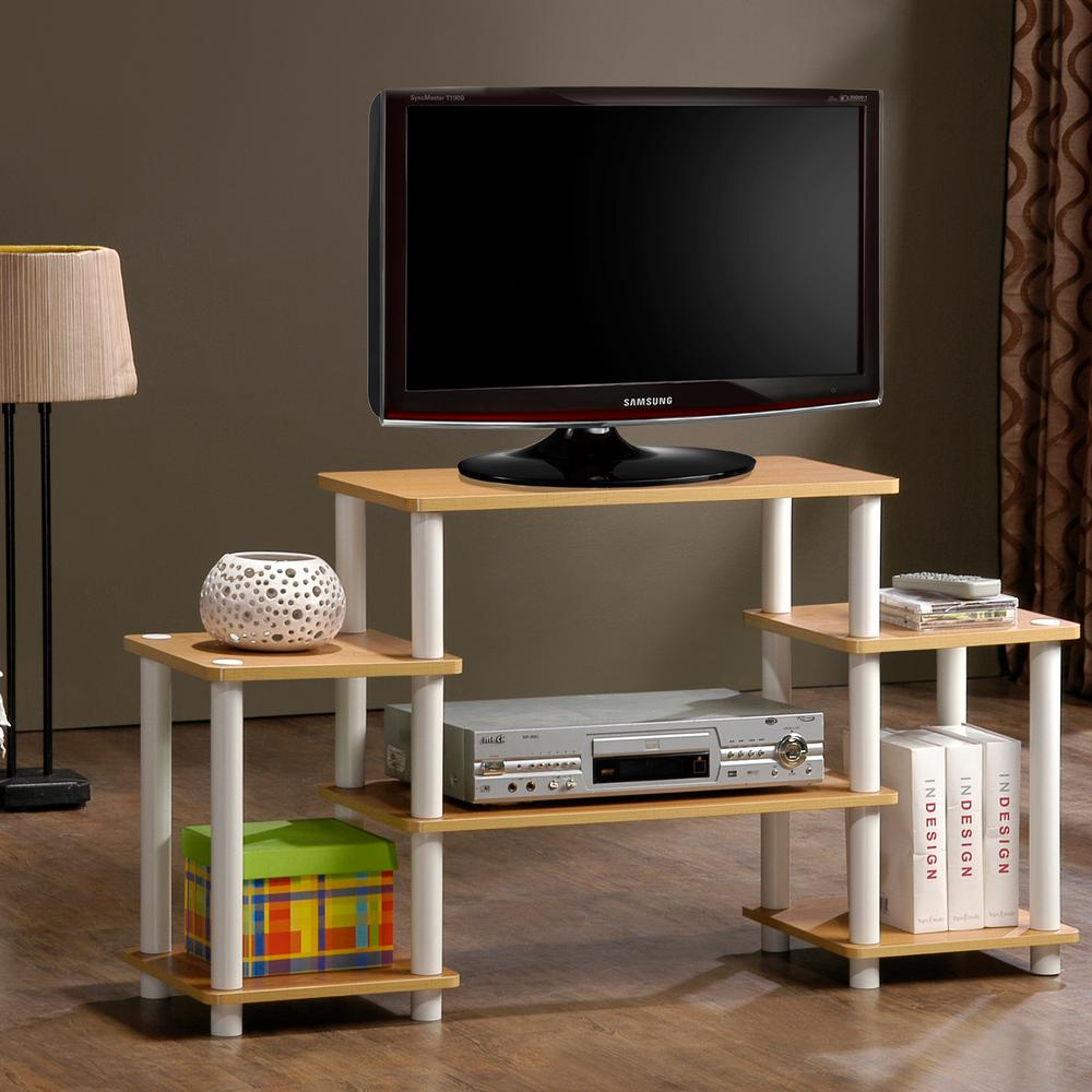 Turn-N-Tube Black Entertainment Center with Side Shelves