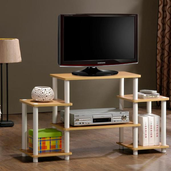 Furinno Turn-N-Tube Black Entertainment Center with Side Shelves 11257BK/GY