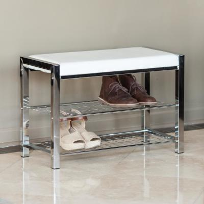 White Leatherette with Chrome Frame Storage Entryway Bench