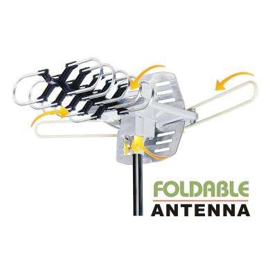 Amplified HD Digital Outdoor HDTV Antenna 360° Rotation UHF VHF FM Radio Remote Control