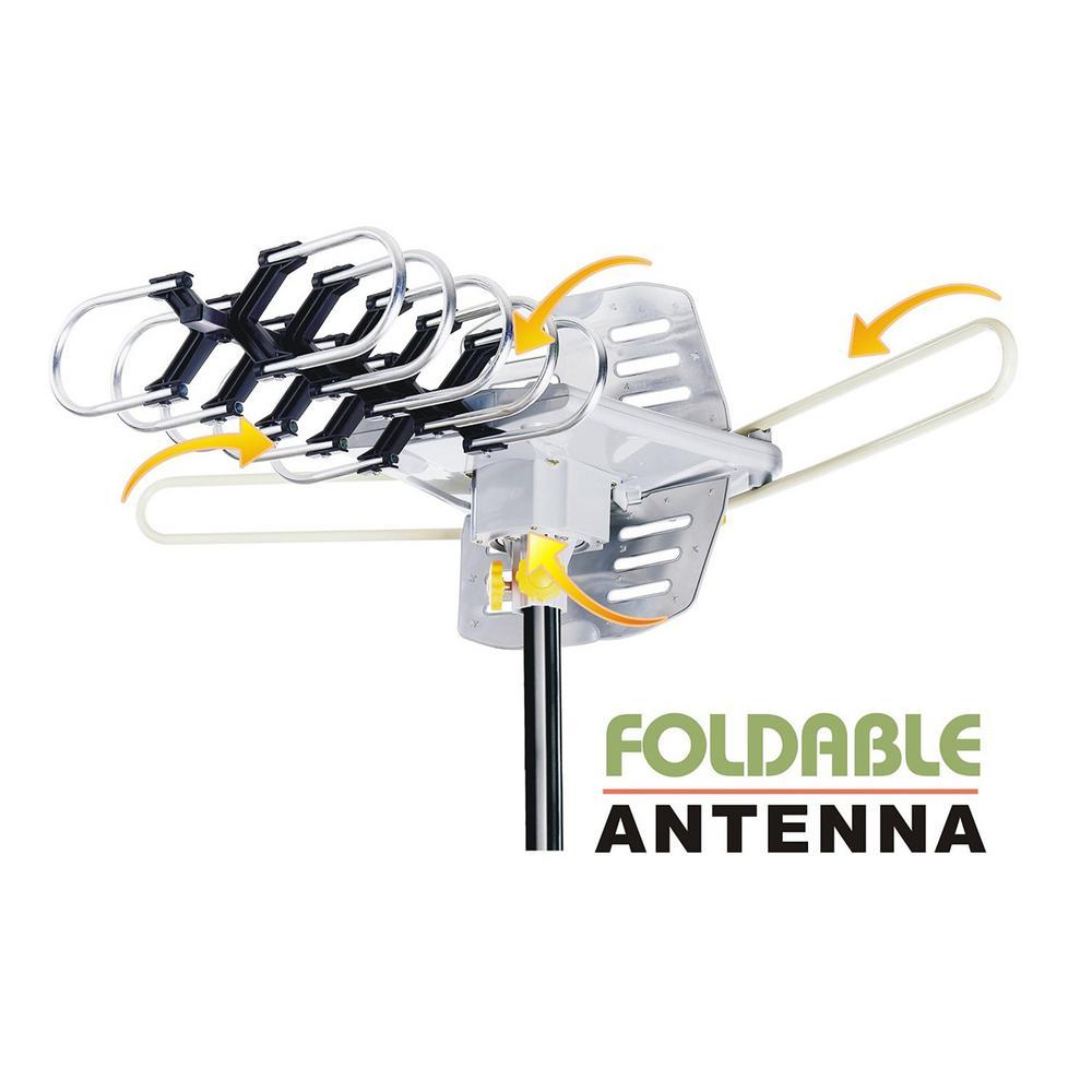 Amplified HD Digital Outdoor HDTV Antenna 360° Rotation UHF VHF FM Radio Remote Control