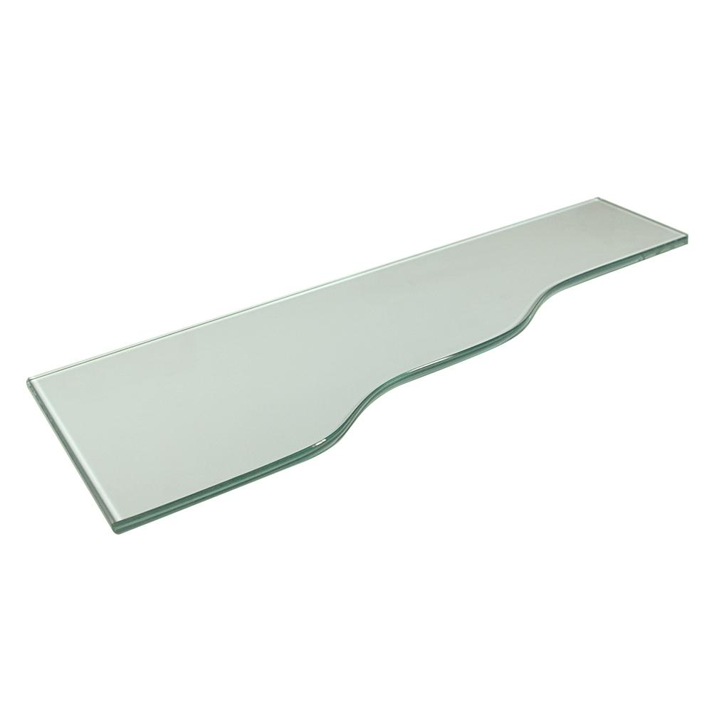 Vincenza Strada 8 in. x 24 in. Clear Glass Shelf with 24 in. Silver Bracket