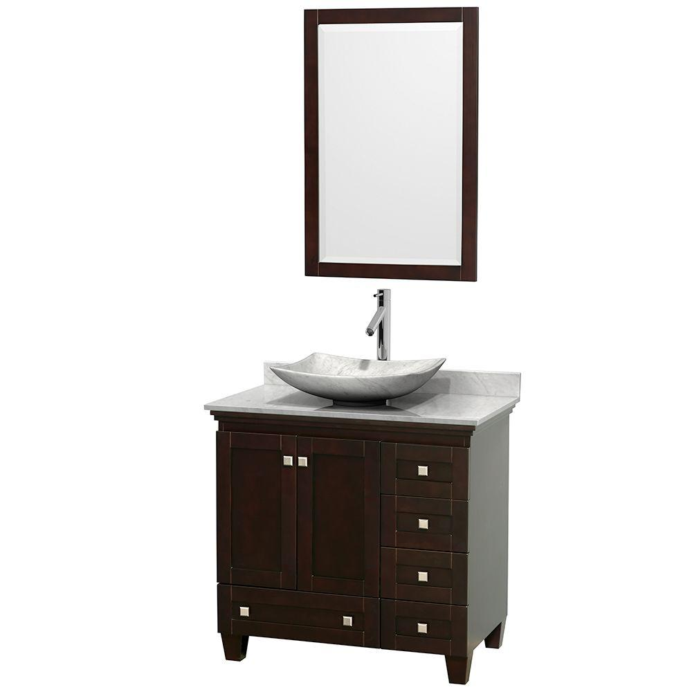 Wyndham Collection Acclaim 36 in. W Vanity in Espresso with Marble Vanity Top in Carrara White, White Carrara Marble Sink and Mirror