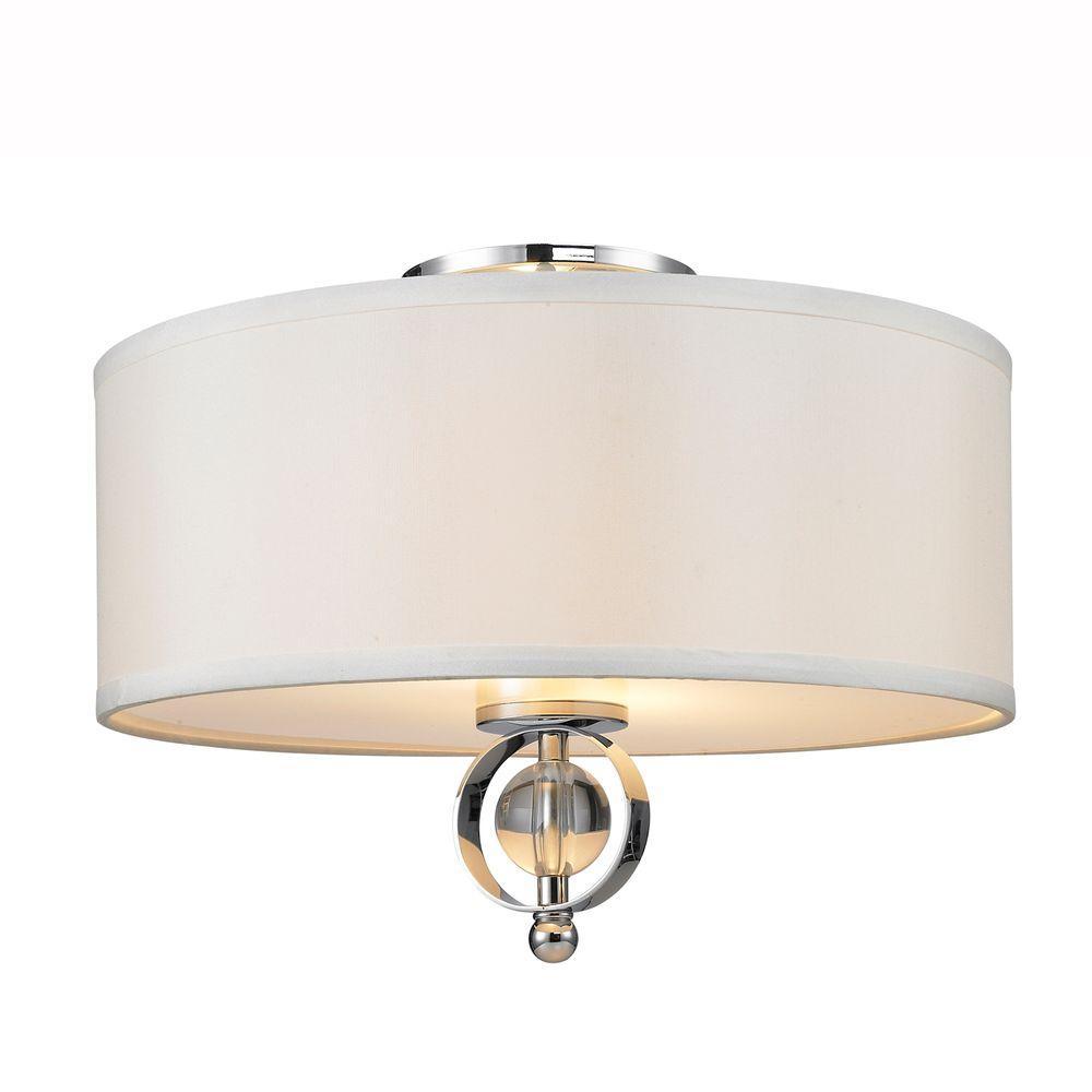 Golden Lighting Cerchi Collection 2-Light Chrome Flush Mount