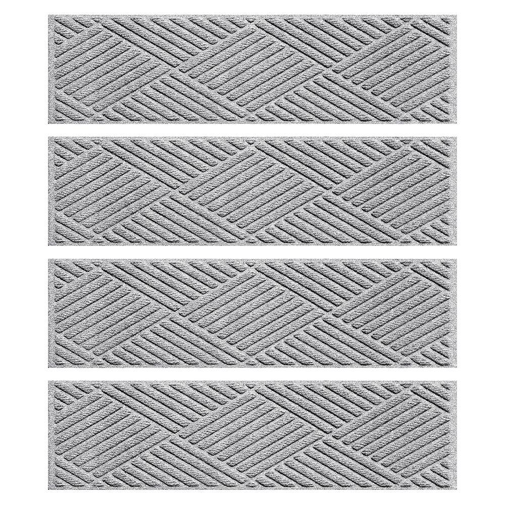 Exceptional Aqua Shield Medium Gray 8.5 In. X 30 In. Diamonds Stair Tread Cover (