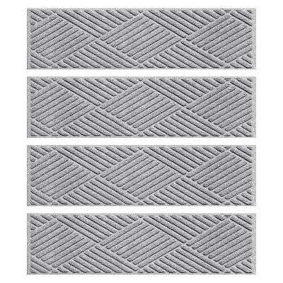 Medium Gray 8.5 in. x 30 in. Diamonds Stair Tread Cover (Set of 4)