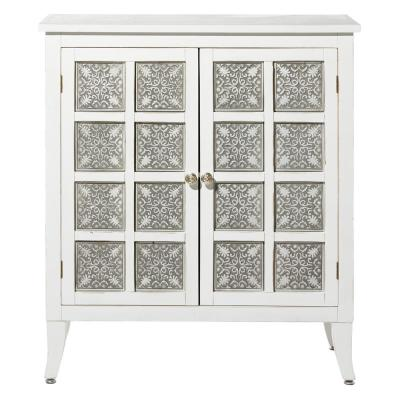 White Rectangular Wooden 2-Door Cabinet with Gray Lattice Patterned Panes