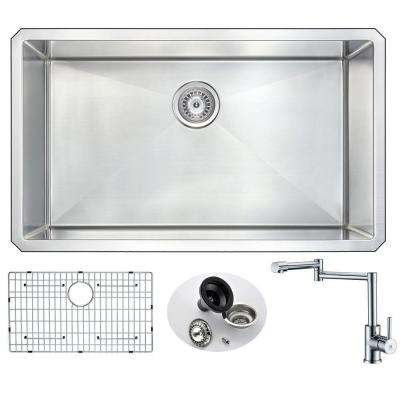 VANGUARD Undermount Stainless Steel 32 in. 0-Hole Single Bowl Kitchen Sink with Manis Faucet in Brushed Satin