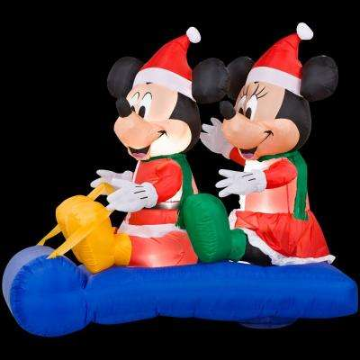 5 ft. Inflatable LED Mickey and Minnie's Sled Scene