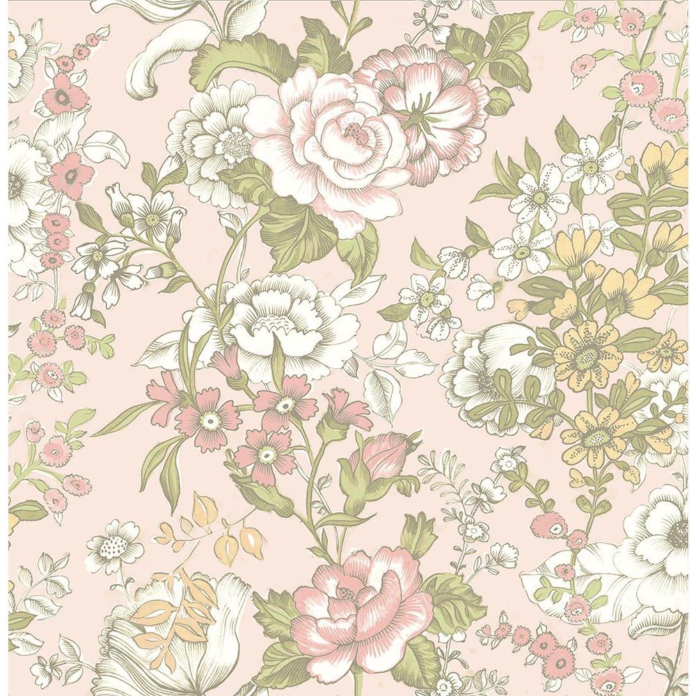 Ainsley Pink Boho Floral Wallpaper Sample
