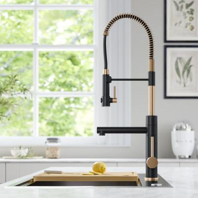 Single-Handle Kitchen Faucet with Pre-Rinse Sprayer and Pot Filler in Spot Free Antique Champagne Bronze/Matte Black