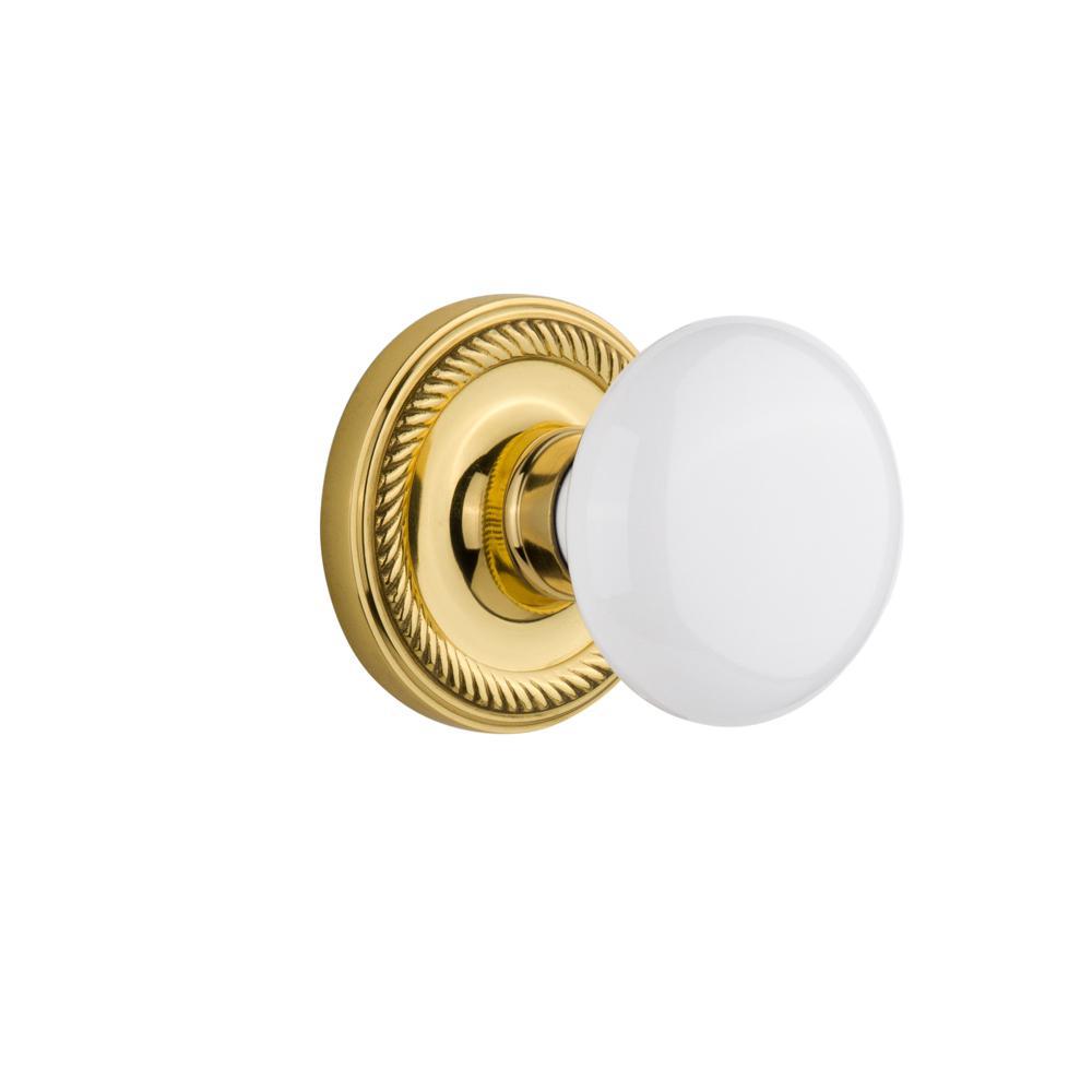 Rope Rosette 2-3/8 in. Backset Unlacquered Brass Privacy White Porcelain Door Knob