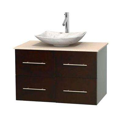 Centra 36 in. Vanity in Espresso with Marble Vanity Top in Ivory and Carrara Sink