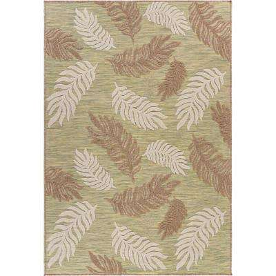 Retreat Green 5 ft. x 7 ft. Tropical Leaf Botanical Indoor/Outdoor Area Rug