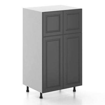 Buckingham Ready to Assemble 30 x 49 x 24.5 in. Pantry/Utility Cabinet in White Melamine and Door in Gray