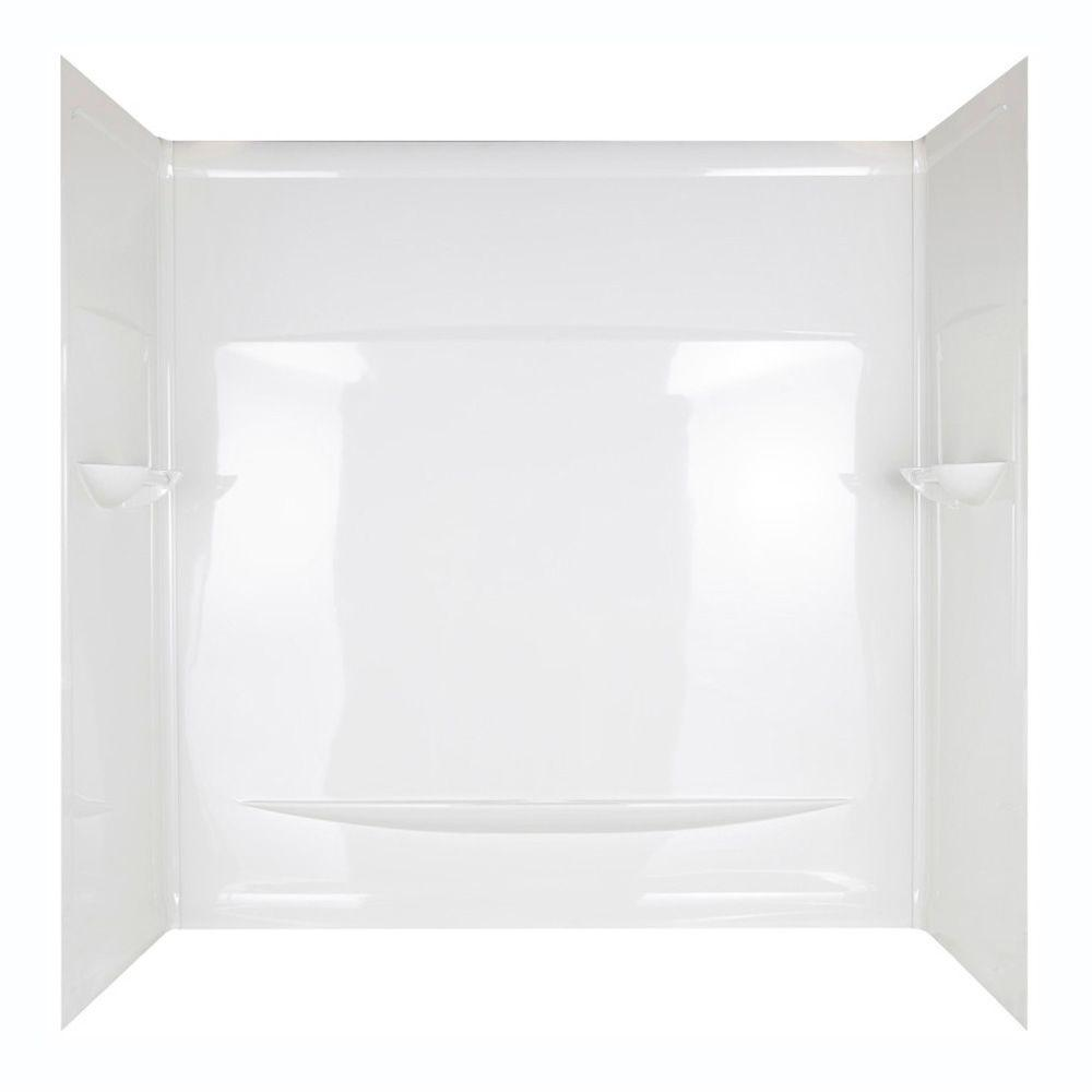 null 59 in. x 29.5 in. Interlocking Seam Bathtub Wall Set in White