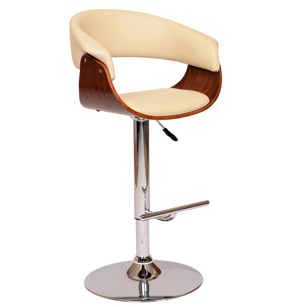 Armen Living Paris 36 44 In. Cream Faux Leather And Chrome Finish  Adjustable Swivel