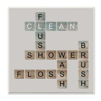 "12 in. x 12 in. ""Scrabble Bathroom Illustration"" by Longfellow Designs Printed Wood Wall Art"