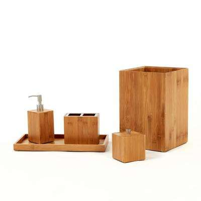 5-Piece Bamboo Bath and Vanity Accessory Kit in Brown