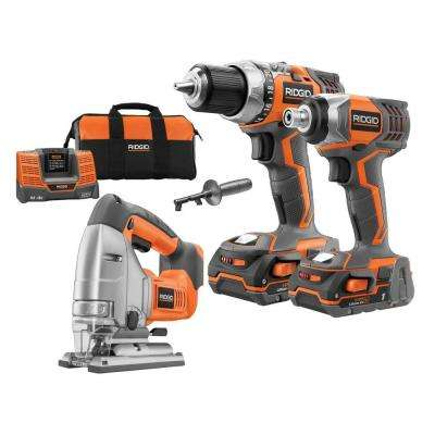 18-Volt Lithium-Ion Cordless Drill/Impact/Jig Saw Combo Kit (3-Tool)