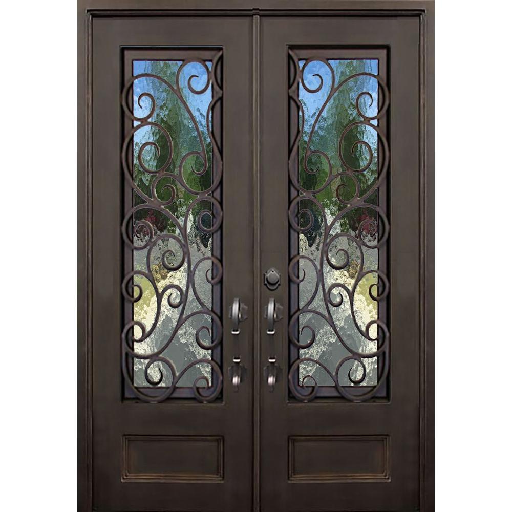 Front doors with glass and iron - Allure Iron Doors Windows 64 In X 96 In Lauderdale Dark Bronze Left