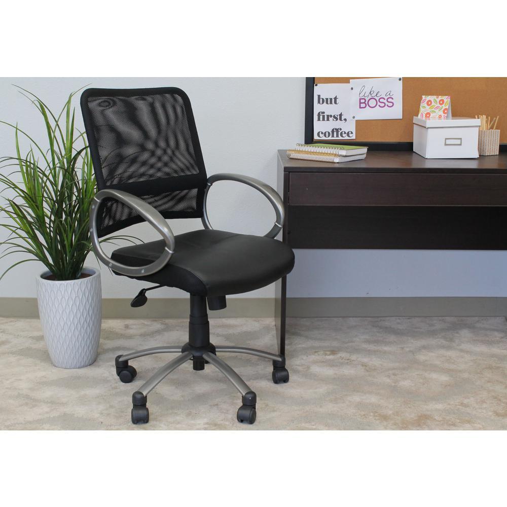 boss black mesh back task chair b6406 the home depot