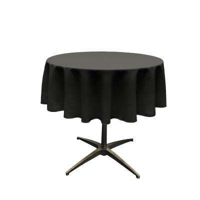 58 in. Round Black Polyester Poplin Tablecloth