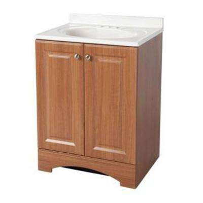 24 in. W Bath Vanity in Golden Pecan with Cultured Marble Vanity Top in White with White Sink