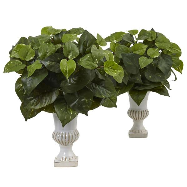 Nearly Natural Indoor Pothos 15 in. H Silk Plants with Urn (Set of 2)