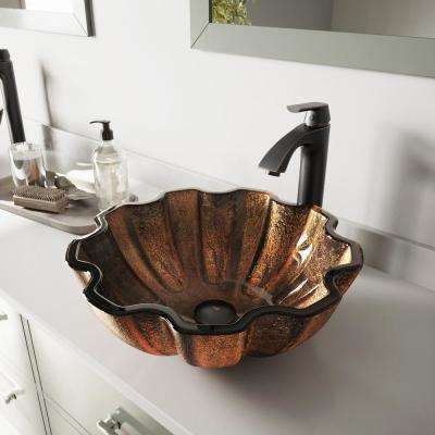 Glass Vessel Bathroom Sink in Brown Walnut Shell and Linus Faucet Set in Antique Rubbed Bronze