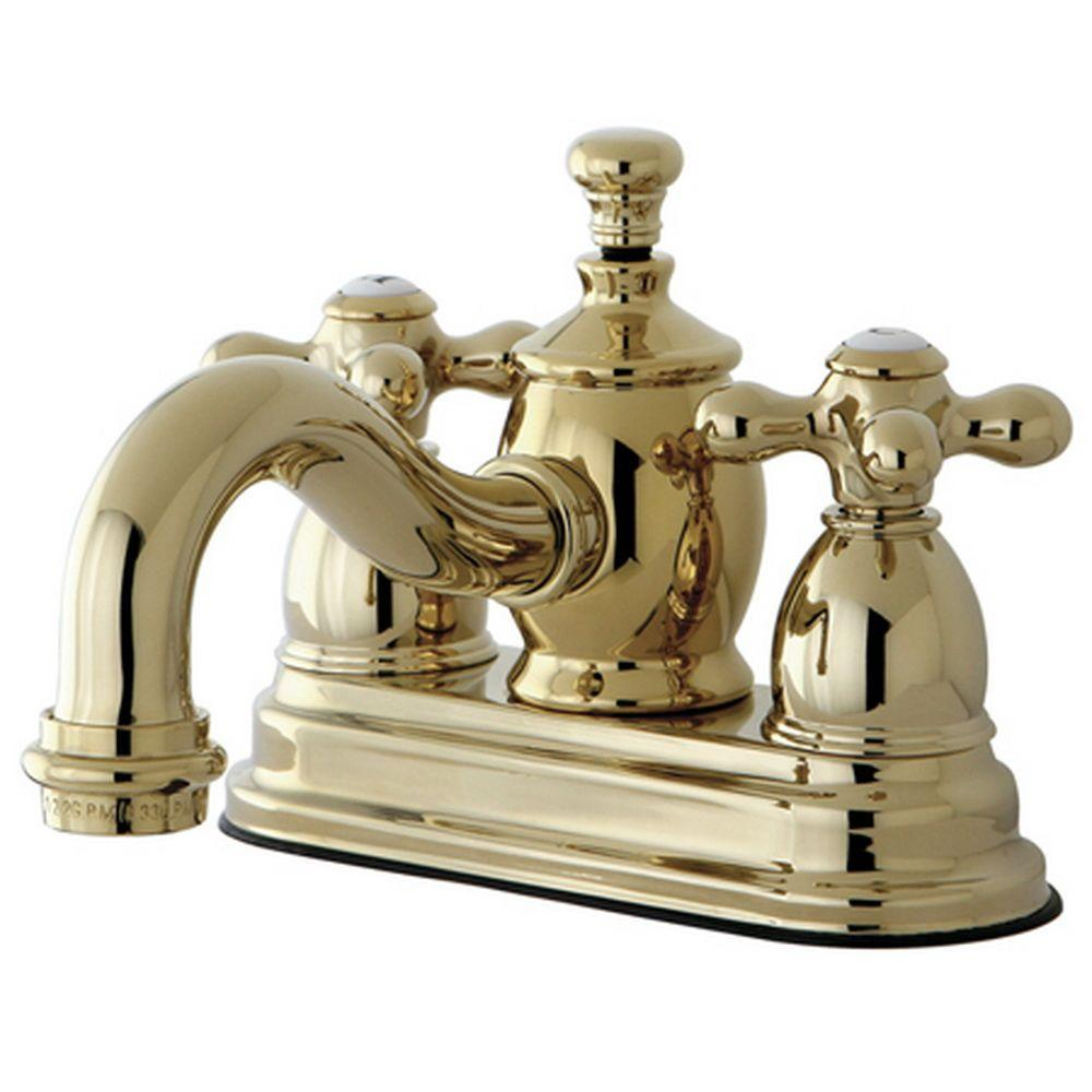 Kingston Brass Victorian 4 In. Centerset 2 Handle Mid Arc Bathroom Faucet  In Polished Brass HKS7102AX   The Home Depot