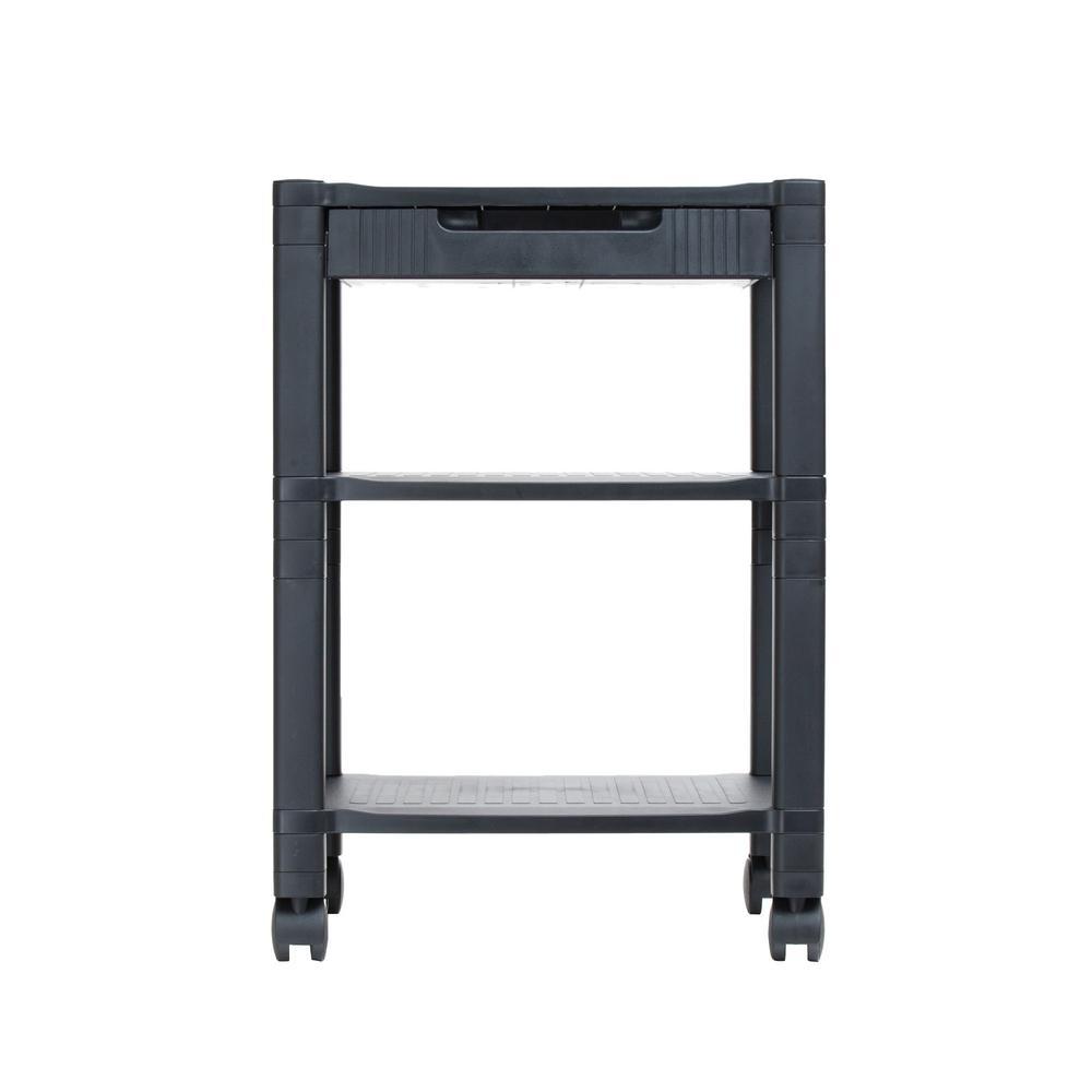 d9435388095a Mind Reader Classify 3- Shelf Mobile Printer Cart in Black
