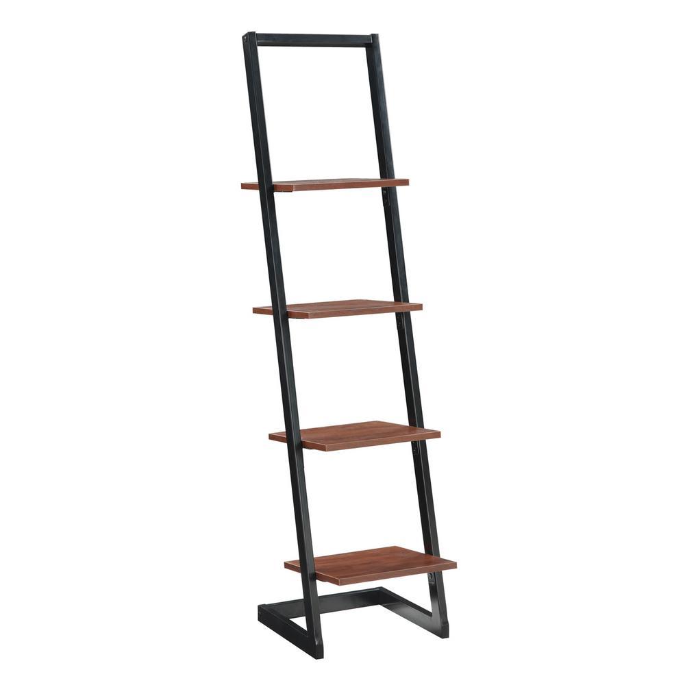 Designs2Go Black and Cherry 4-Tier Ladder Bookcase