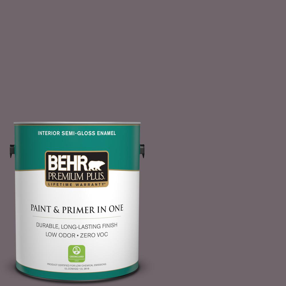 BEHR Premium Plus 1-gal. #N570-5 Curtain Call Semi-Gloss Enamel Interior Paint