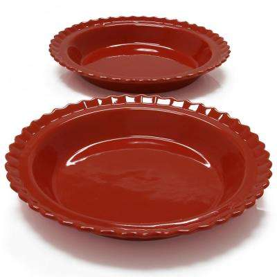 Classic 9 in. Cinnabar Round Ceramic Pie Dish (2-Pack)