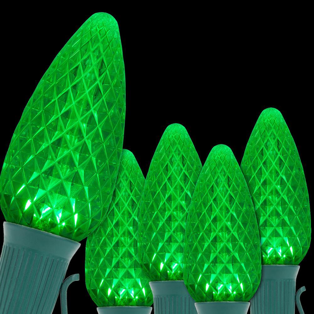 OptiCore 24 ft. 25-Light Green LED Faceted C9 String Light Set