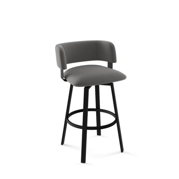 Stinson 26 in. Textured Black Metal Light Cold Cold Grey Polyester Counter Stool