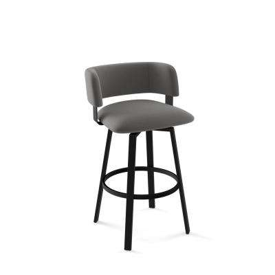 Stinson 30 in. Textured Black Metal Light Cold Grey Polyester Barstool