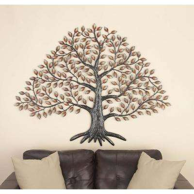 57 in. x 46 in. Natural Reflections Black and White Iron Tree Wall Decor