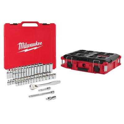 3/8 in. Drive SAE/Metric Ratchet and Socket Mechanics Tool Set with PACKOUT 22 in. Tool Box (56-Piece)