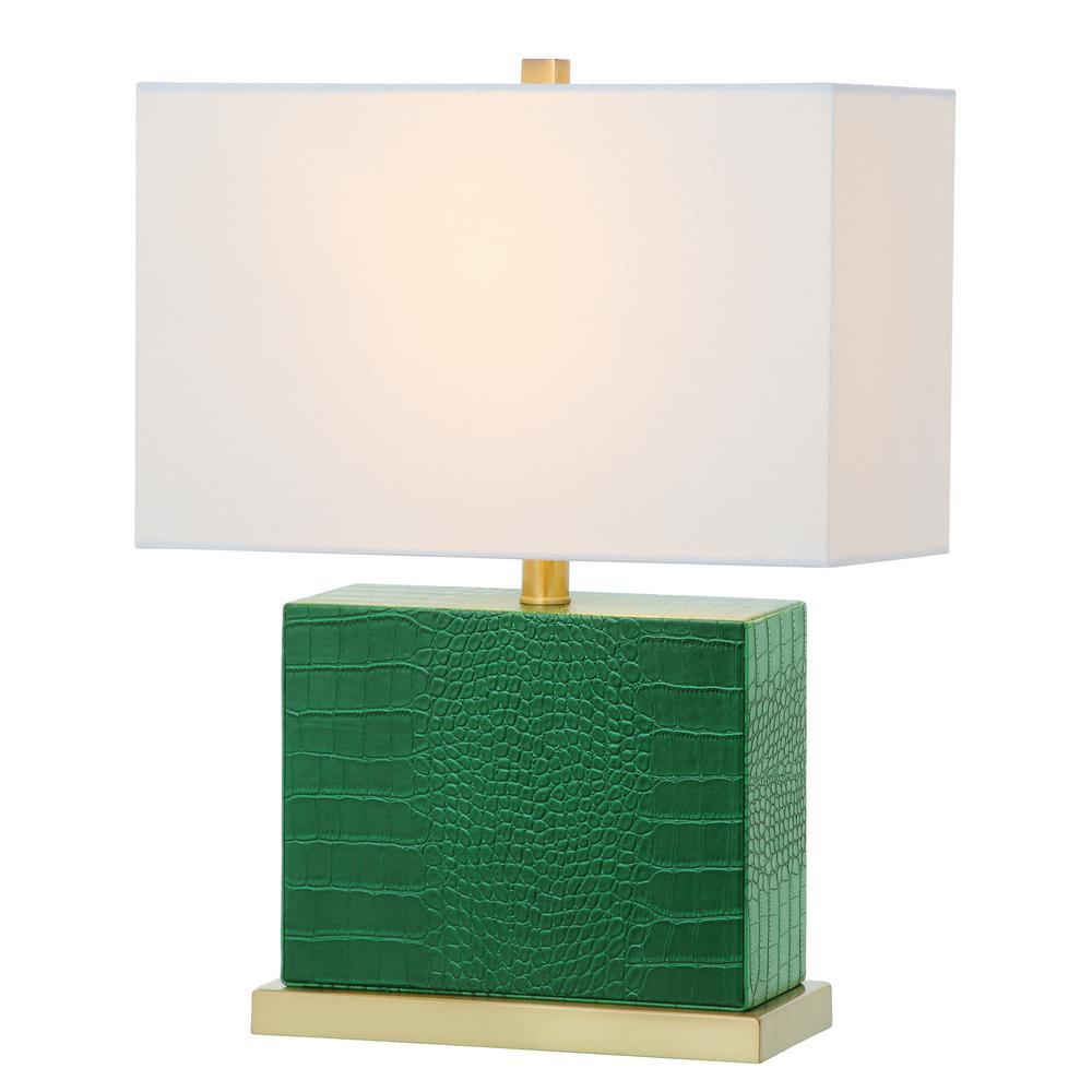 Dark Green Faux Crocodile Table Lamp