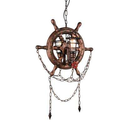Manor 2-Light Speckled copper Chandelier