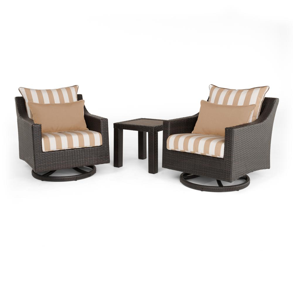 Deco 2-Piece All-Weather Wicker Patio Deluxe Motion Club Chairs and Side