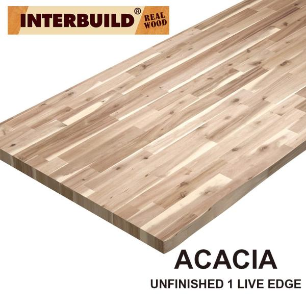 Acacia 8 ft. L x 25 in. D x 1.5 in. T Butcher Block Countertop in Natural Wood Grain with Live Edge